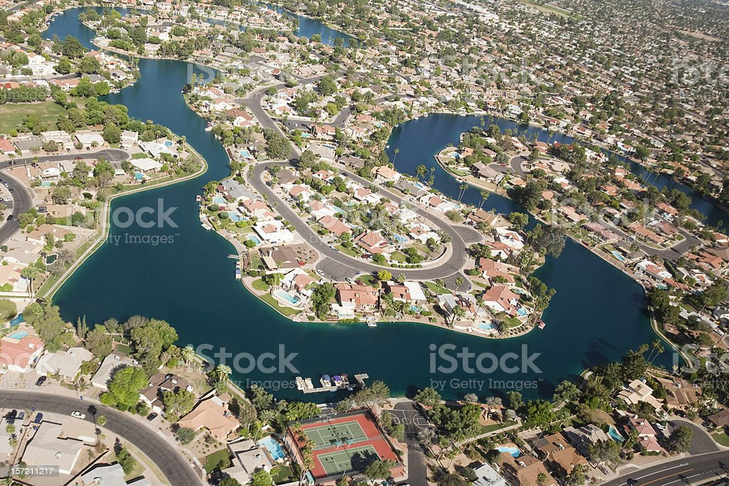 Aerial View of Planned Lake Community royalty-free stock photo