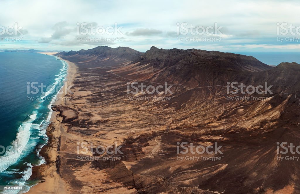 Aerial view of Playa de Barlovento beach, Fuerteventura, Canary Islands stock photo