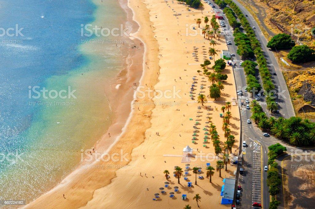 Aerial view of Playa de Las Teresitas near Santa Cruz de Tenerife. Sunny summer beach landscape top view. stock photo