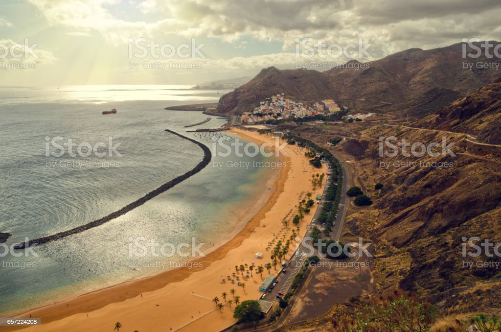 Aerial view of Playa de Las Teresitas near Santa Cruz de Tenerife. Overcast cloudy beach landscape. stock photo