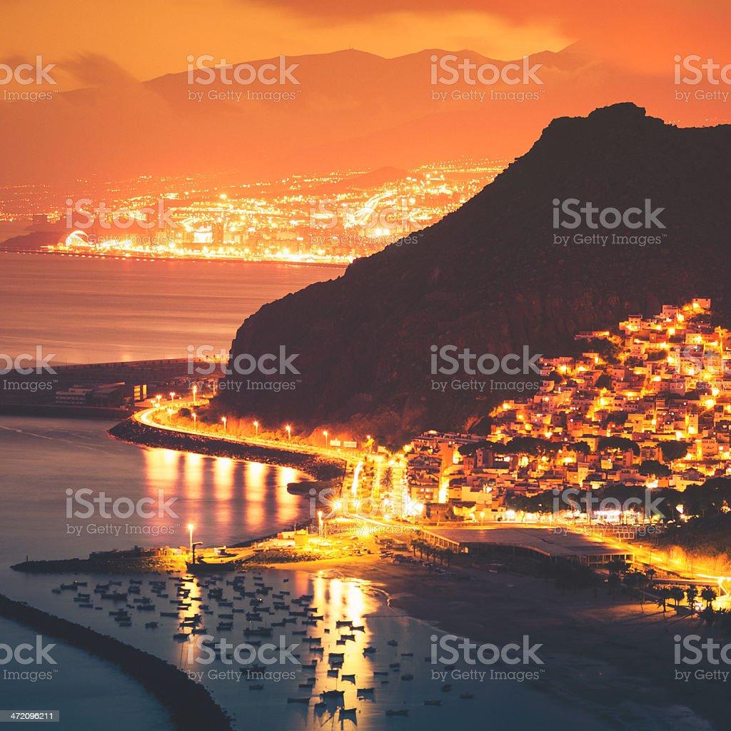 Aerial view of Playa de Las Teresitas - Tenerife stock photo