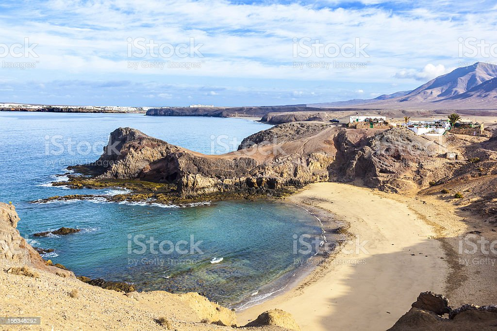 Aerial view of Playa de Papagayo on Canary Islands, Spain stock photo