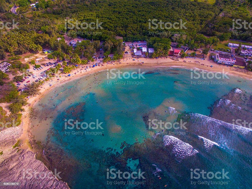 Aerial view of Playa Jobos in Isabela Puerto Rico stock photo