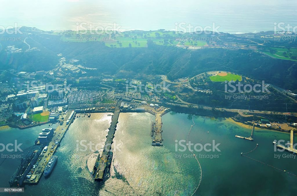 Aerial view of Point Loma, San Diego stock photo