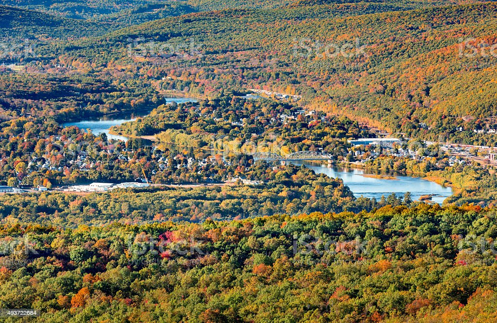 Aerial view of Port Jervis, stock photo