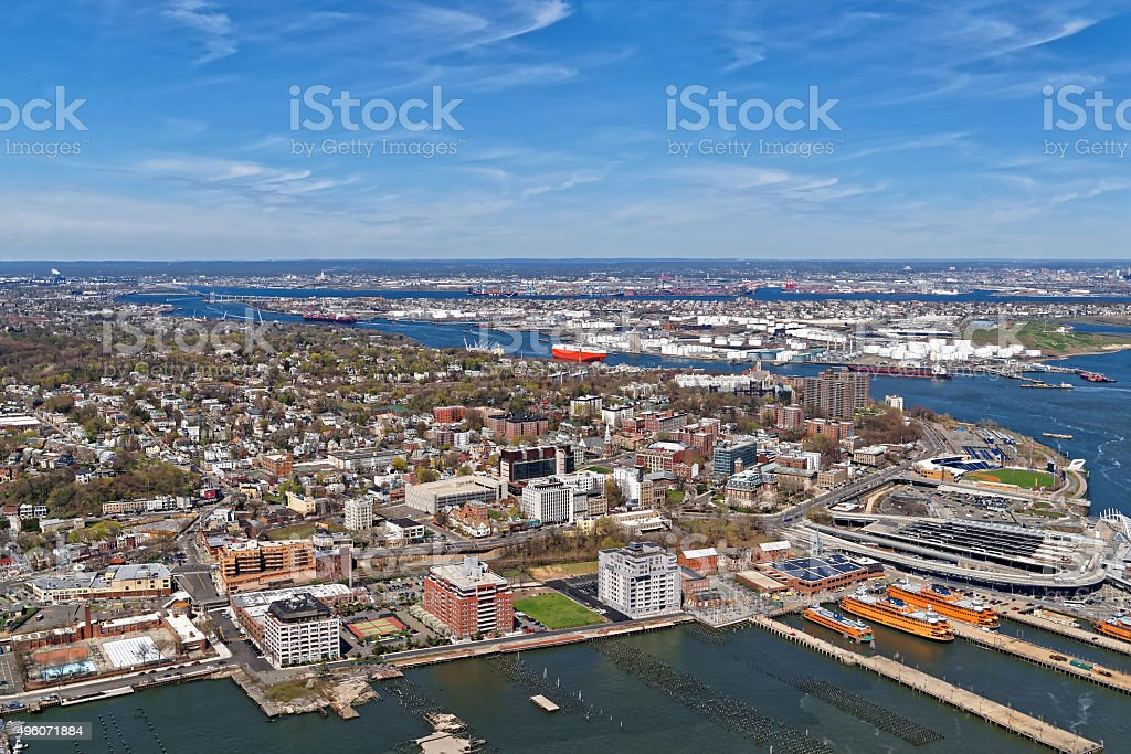 Aerial view of Port Newark in Bayonne stock photo