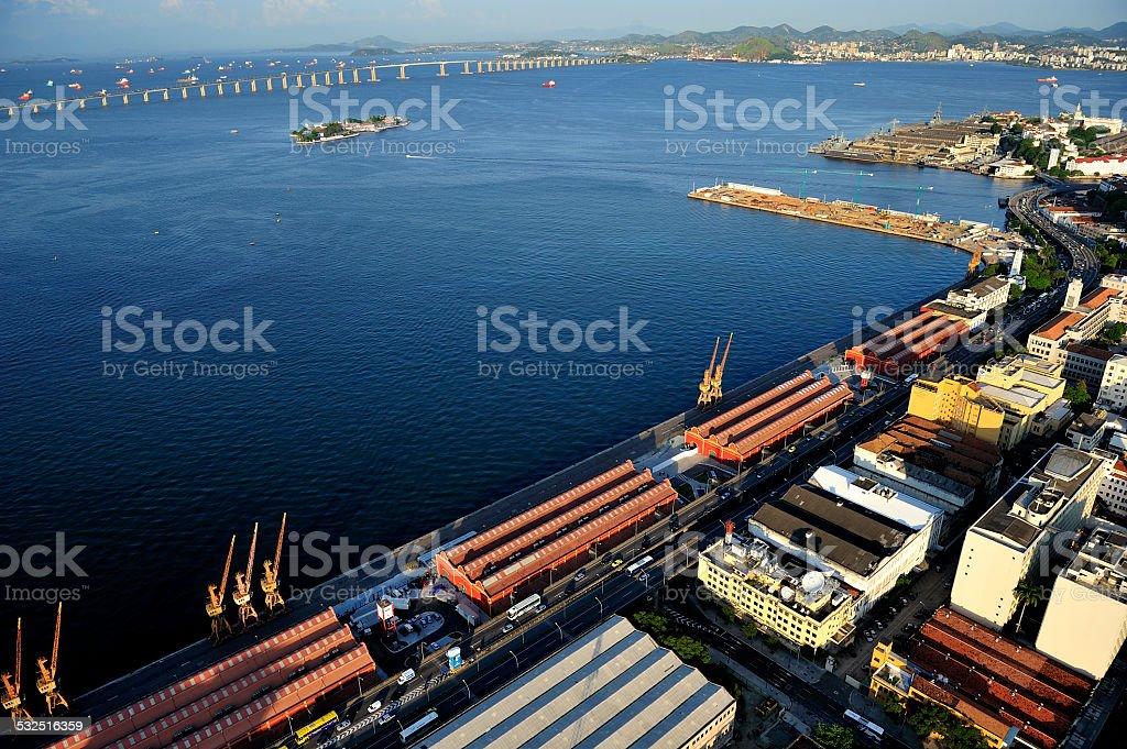 Aerial view of Port of Rio de Janeiro, Brazil stock photo