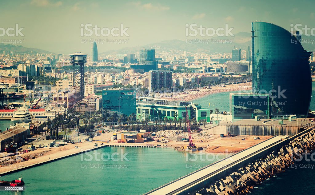 Aerial view of Port Vell and La Barceloneta district. Barcelona stock photo