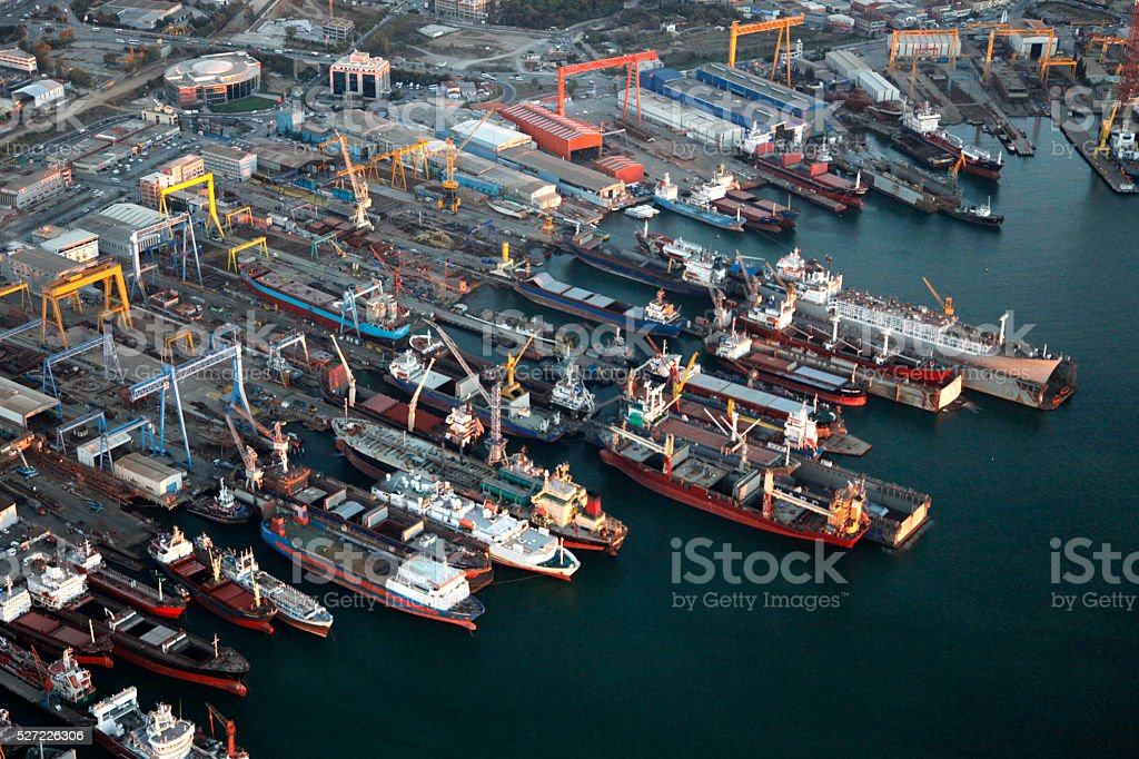 Aerial View of Port with chips stock photo