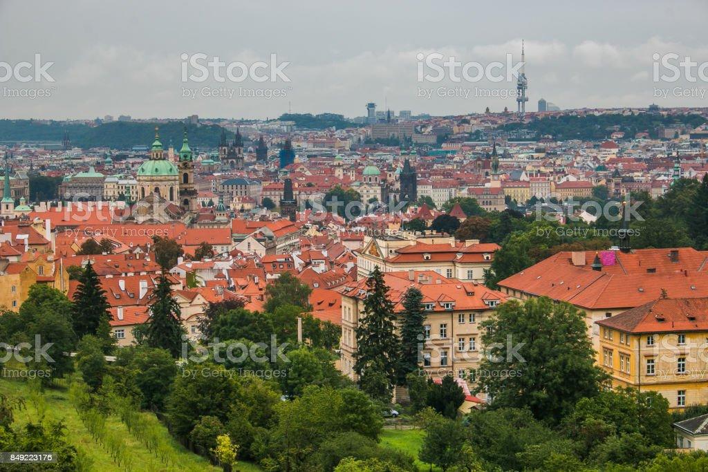 Aerial view of Prague center in Bohemia stock photo