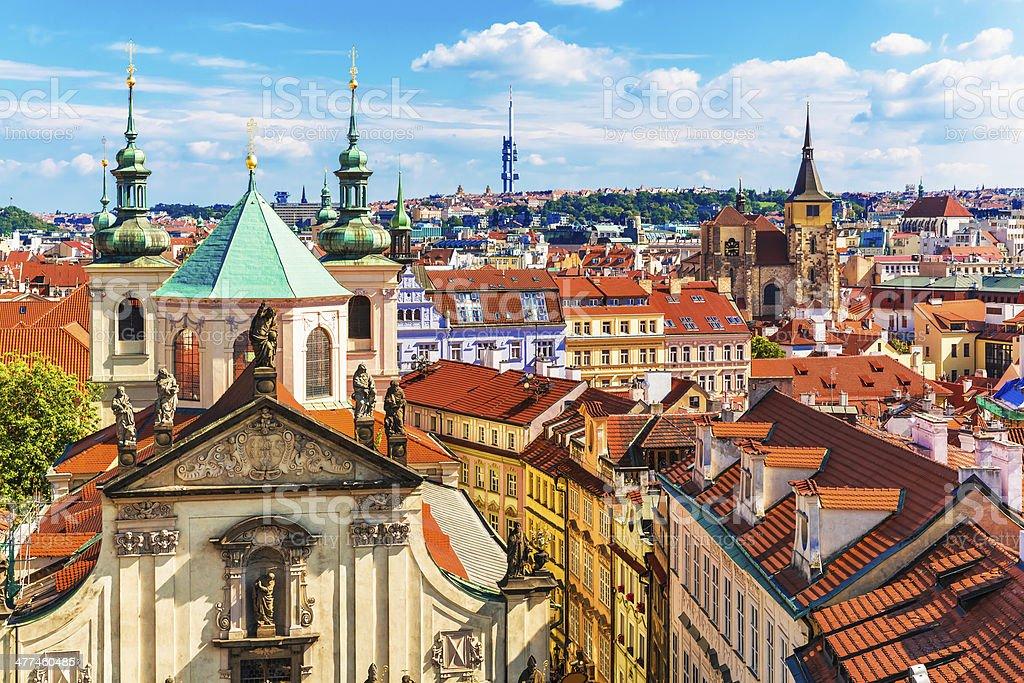 Aerial view of Prague, Czech Republic stock photo