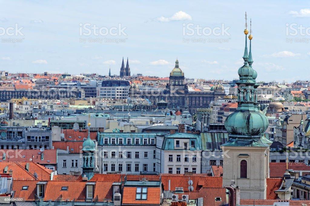 Aerial view of Prague, Czech Republic. stock photo