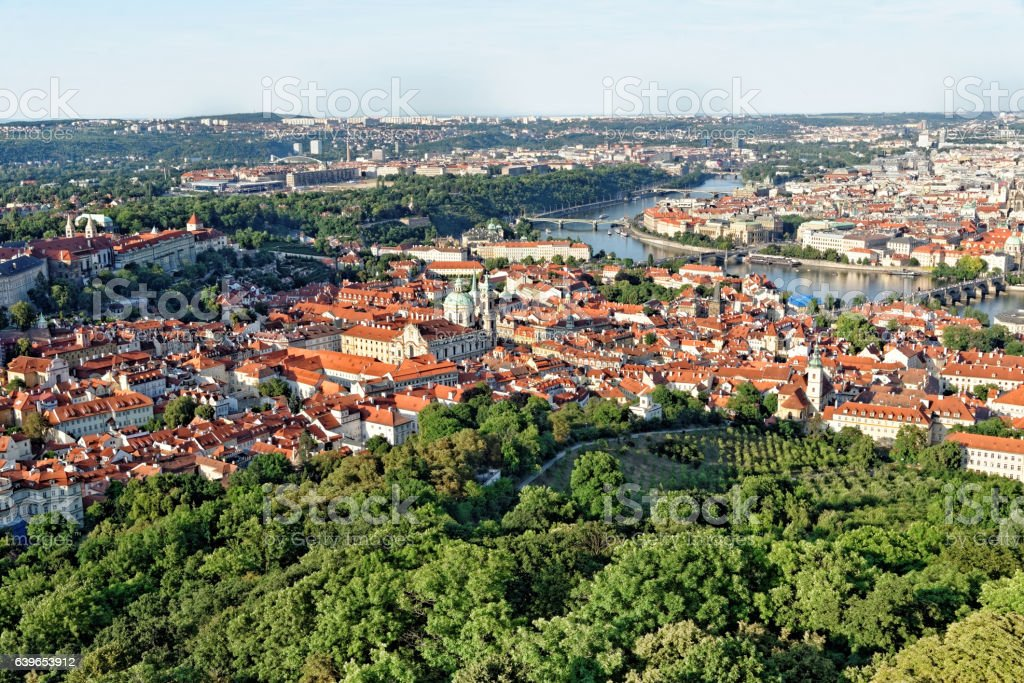 Aerial view of Prague, Czech Republic. stock photo