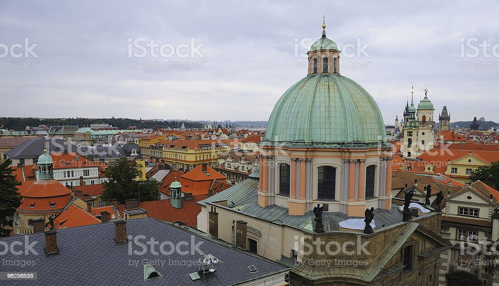Aerial View of Prague Old Town stock photo