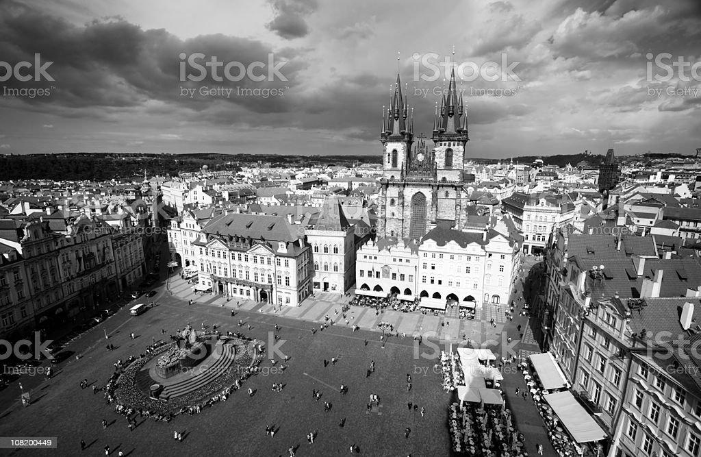 Aerial View of Prague Old Town Square, Black and White royalty-free stock photo