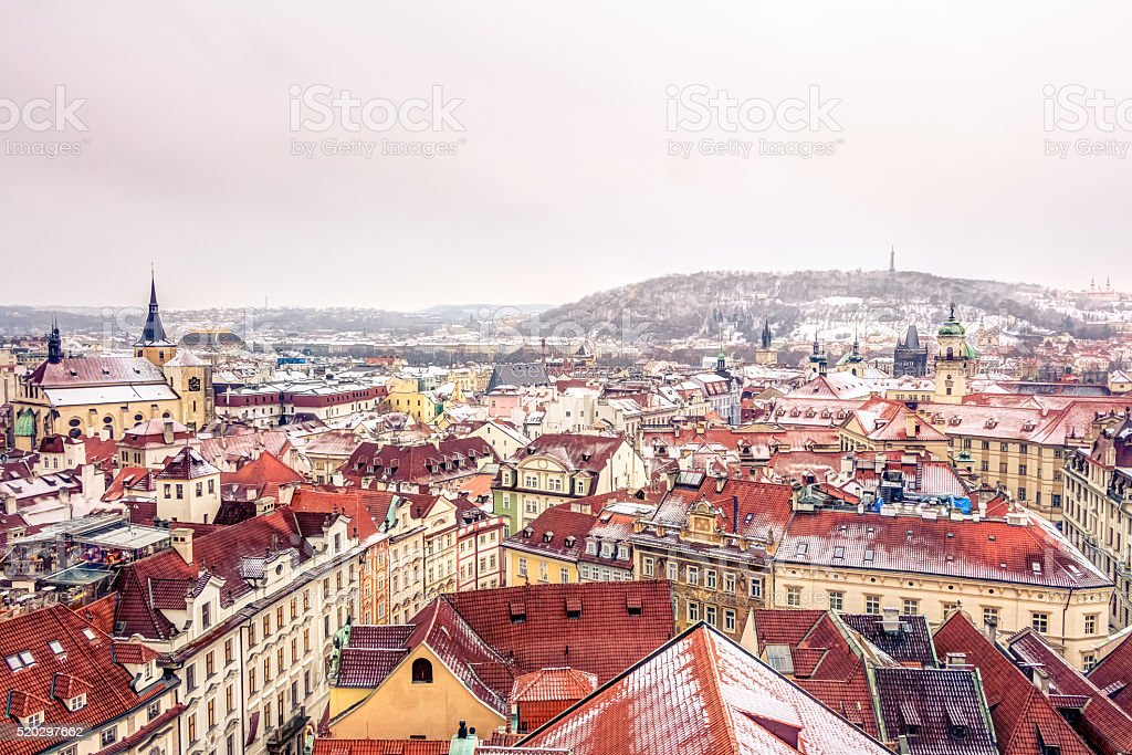 Aerial view of Prague stock photo