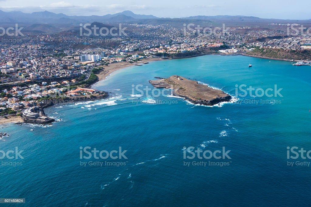 Aerial view of Praia city in Santiago Cape Verde stock photo