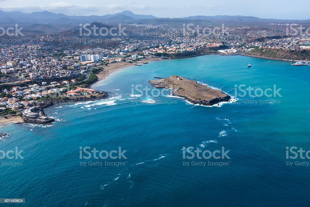 Aerial view of Praia city in Santiago Cape Verde stock photo