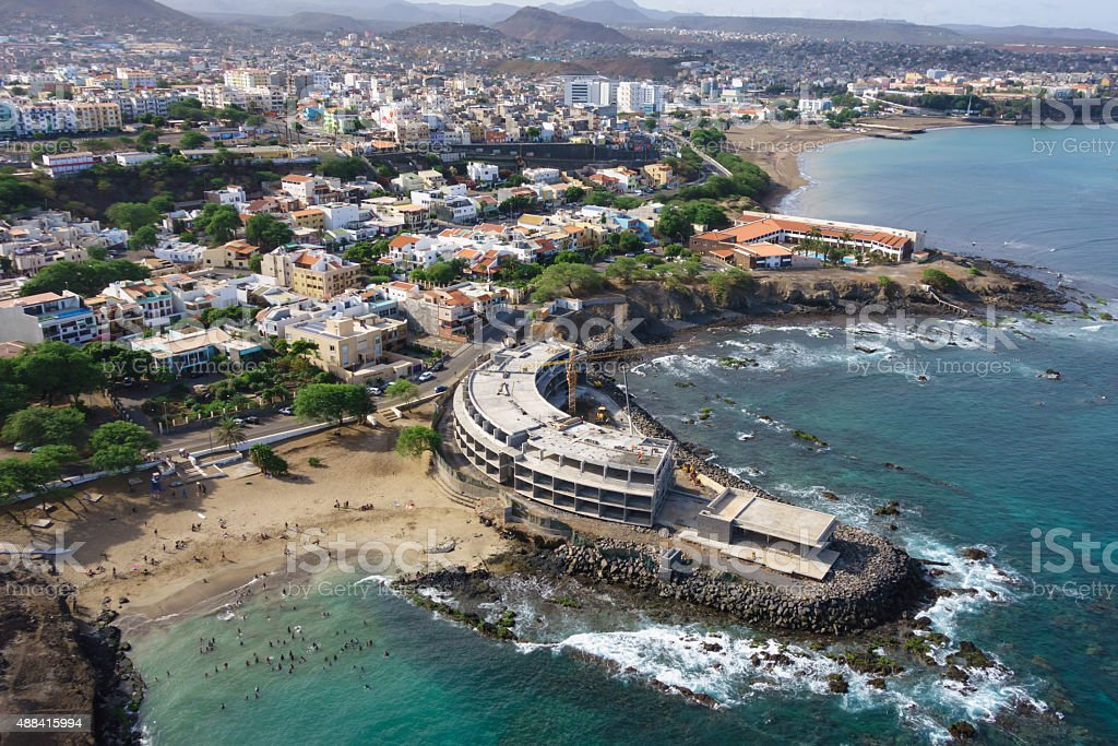 Aerial view of Praia city in Santiago Capital Cape Verde stock photo