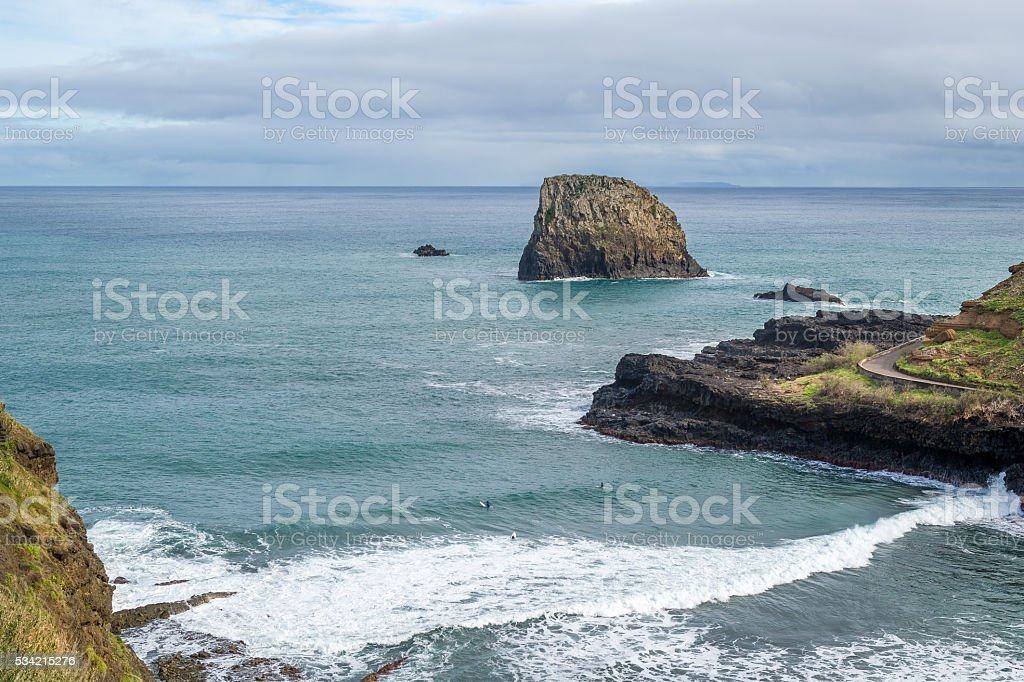 Aerial view of Praia da Alagoa, surfer's beach at stock photo