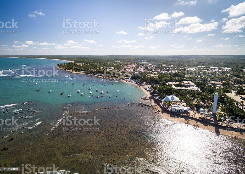 Aerial view of Praia do Forte in Bahia, Brazil stock photo