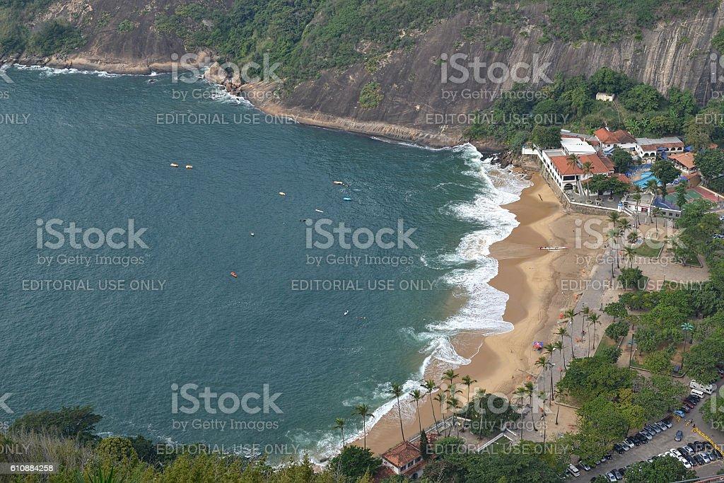 Aerial view of Praia Vermelha stock photo