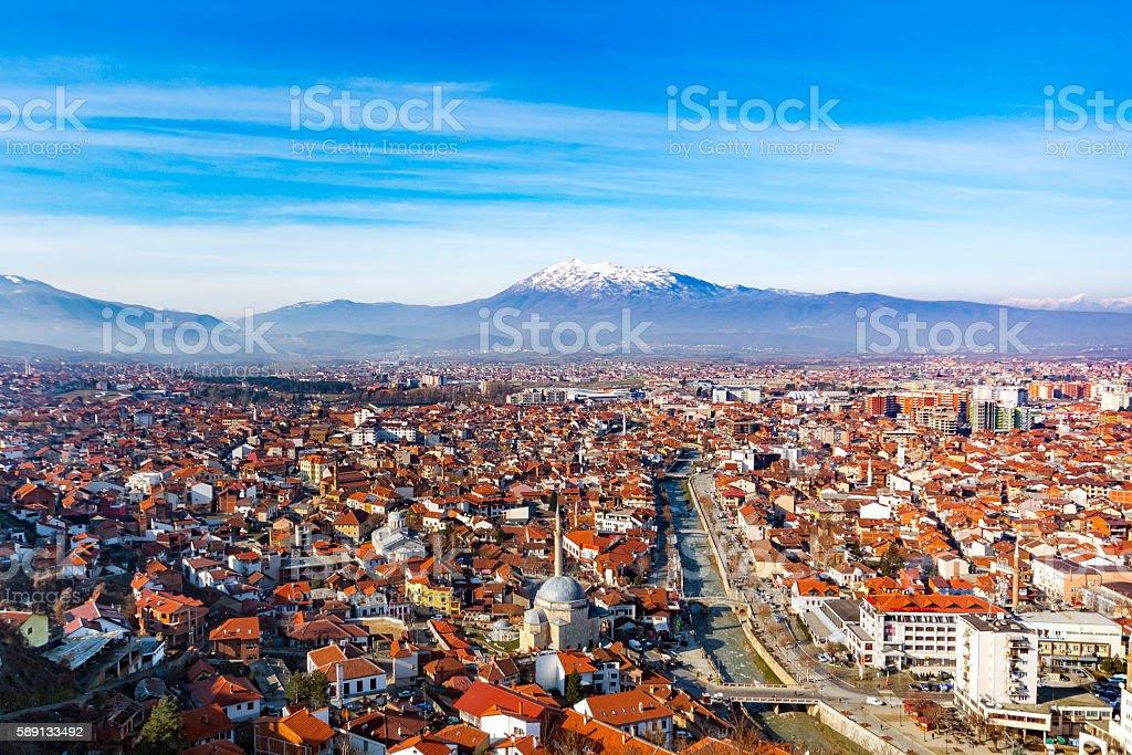 Aerial view of Prizren city in Kosovo stock photo