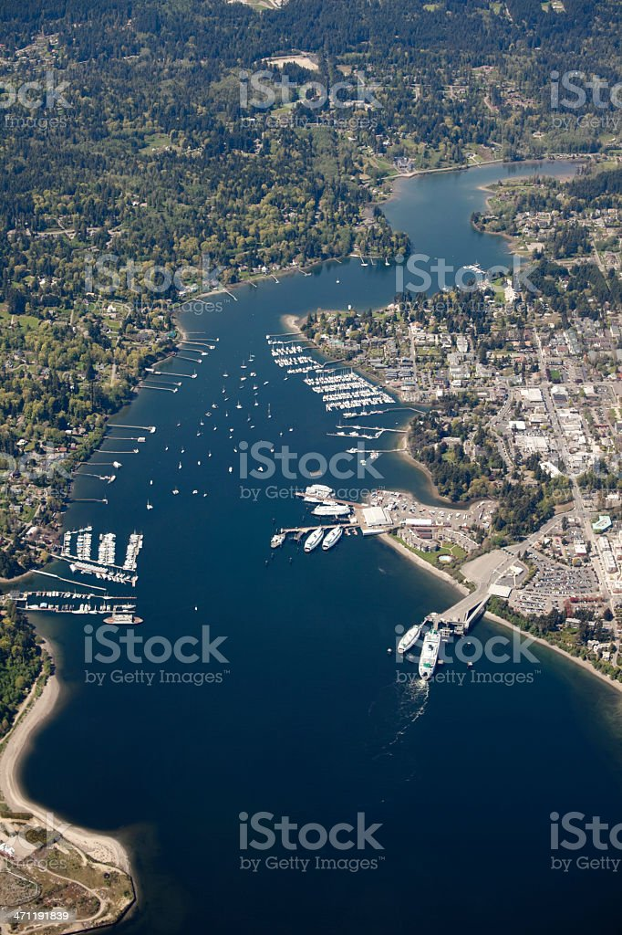 Aerial View of Puget Sound, Greater Seattle Metro Area royalty-free stock photo