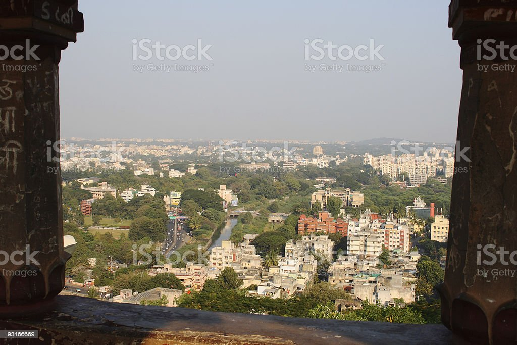 Aerial view of Pune city in India stock photo