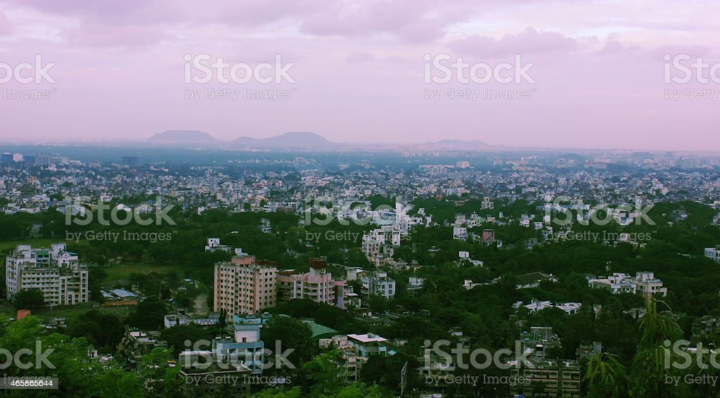 Aerial view of Pune city, India stock photo