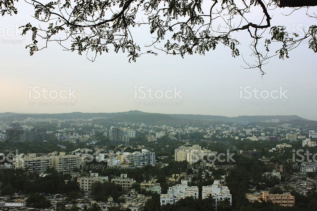Aerial view of Pune city stock photo