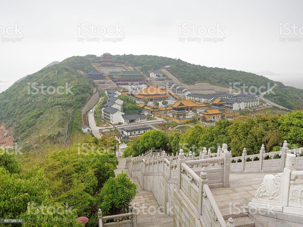 Aerial view of Putuo Shan, Zhejiang, China stock photo