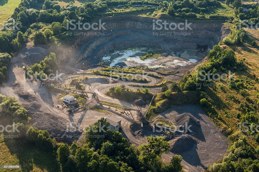 aerial view of quarry stone processing line stock photo