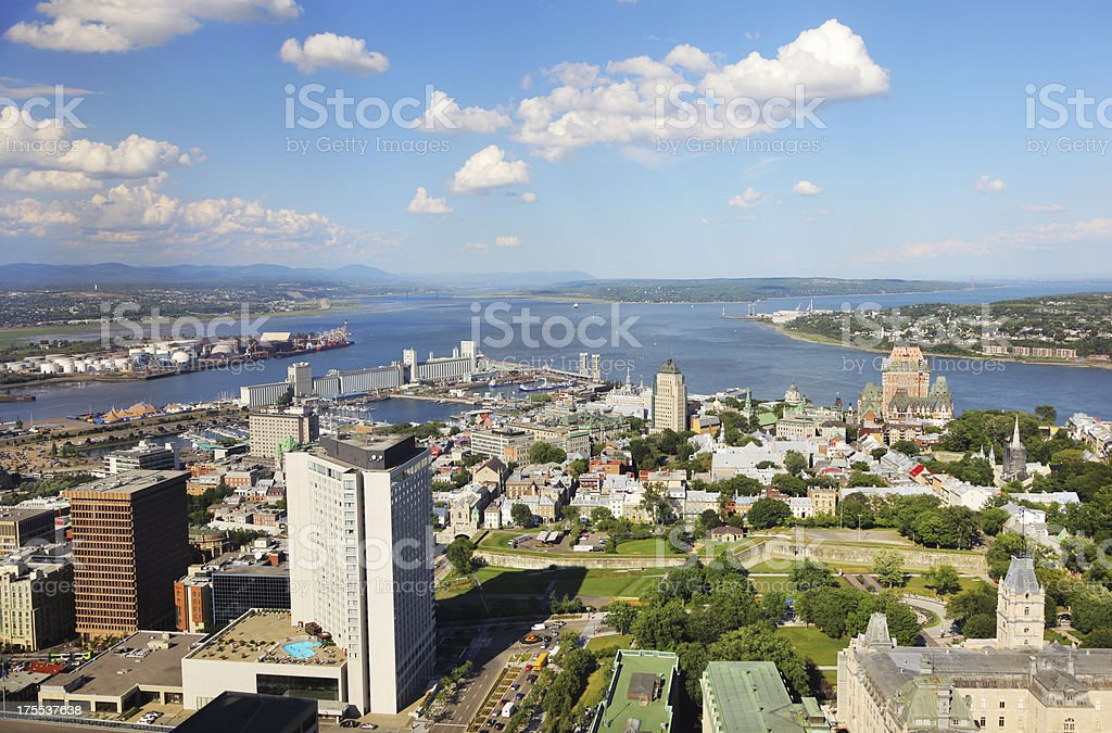 Aerial View of Quebec City and St-Lawrence River stock photo