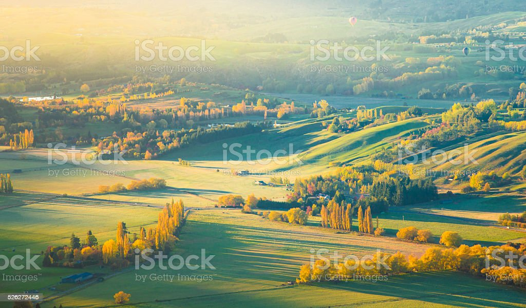 Aerial view of Queenstown New Zealand stock photo