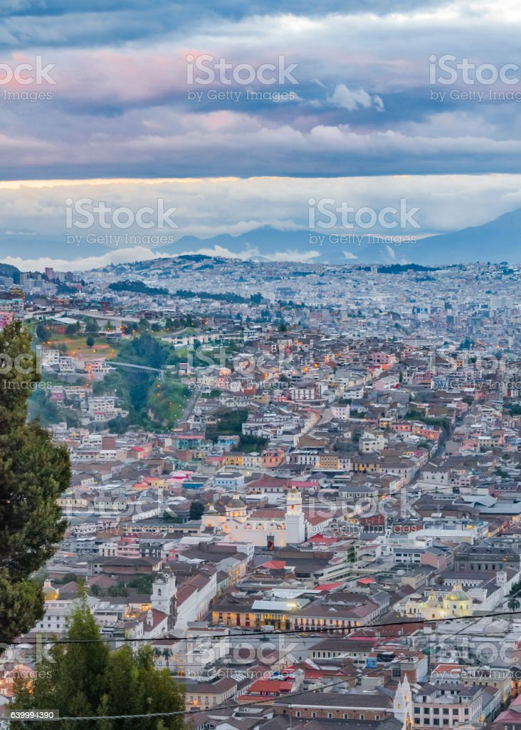Aerial View of Quito from Panecillo Viewpoint stock photo