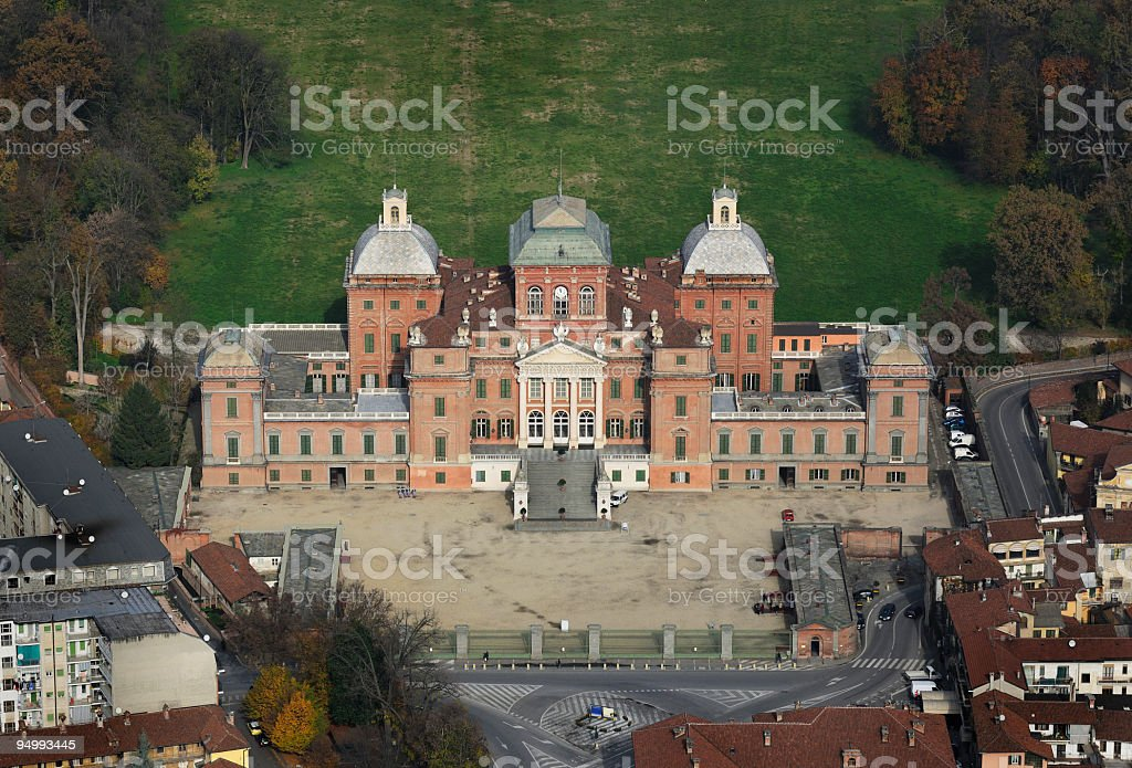 Aerial view of Racconigi Castle, Turin, Piedmont stock photo