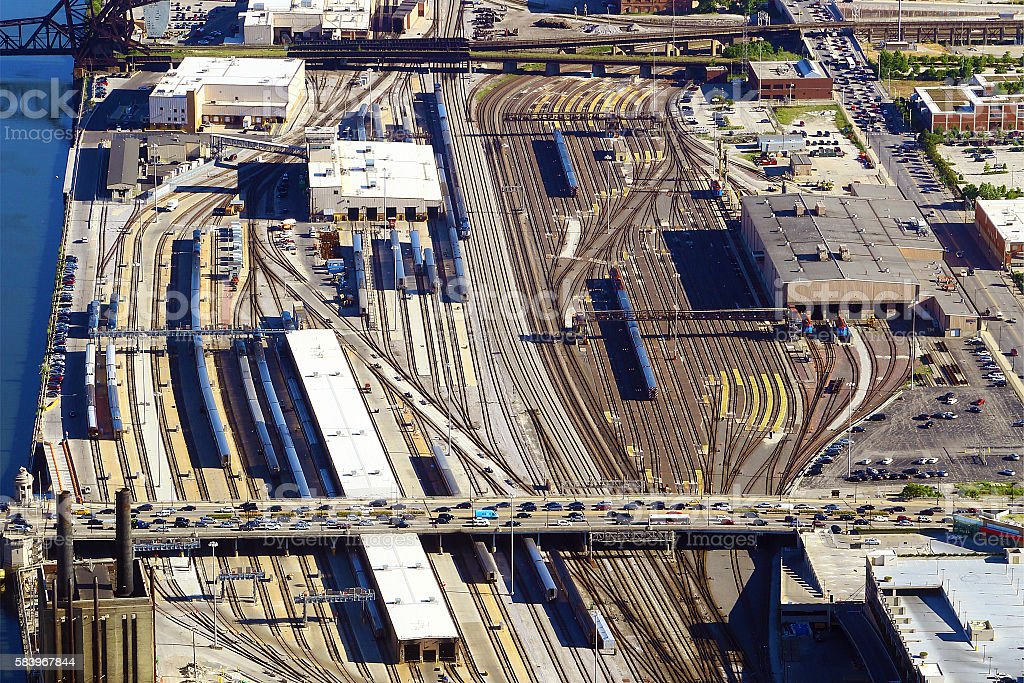 Aerial view of rail yard in Chicago stock photo