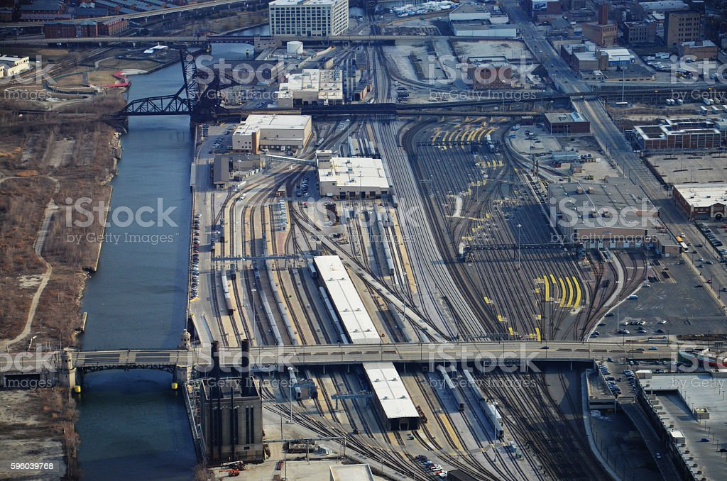 Aerial View of Railroad Yard in Chicago, IL stock photo