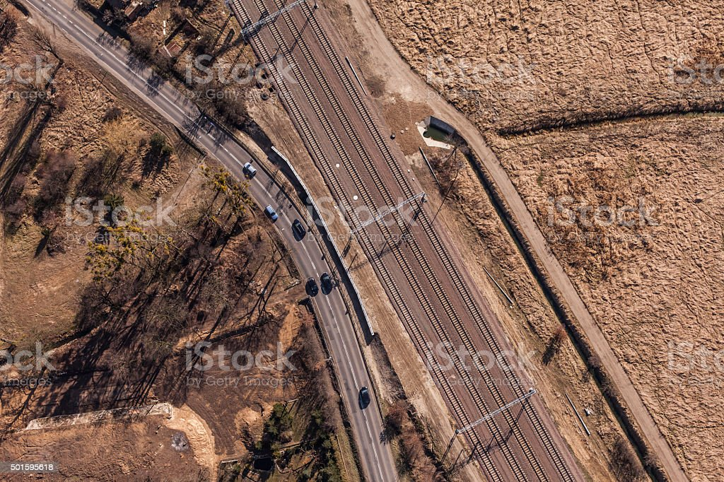 aerial view of railway station stock photo