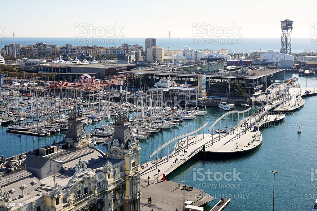 Aerial view of Rambla De Mar and Port Vell in stock photo