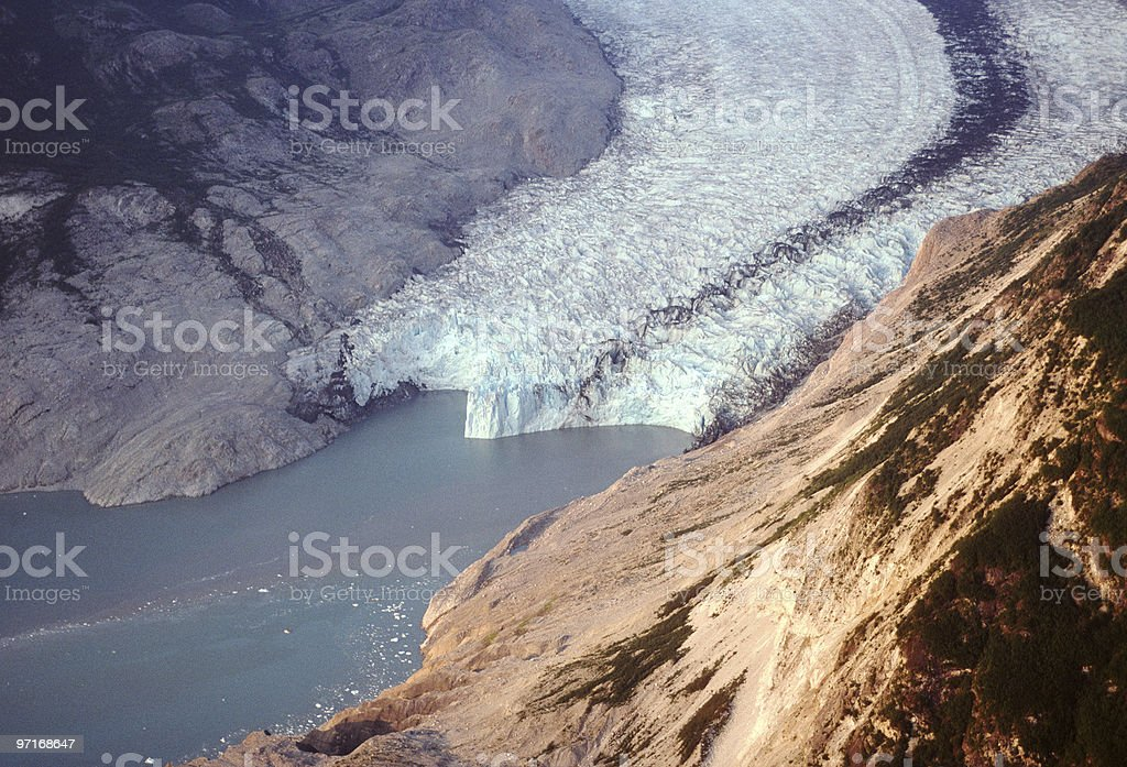 Aerial view of receding glacier royalty-free stock photo