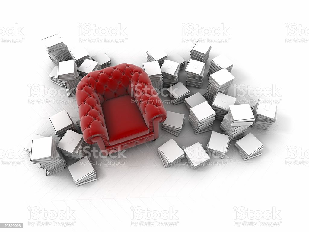 Aerial view of red club armchair surrounded by books royalty-free stock photo
