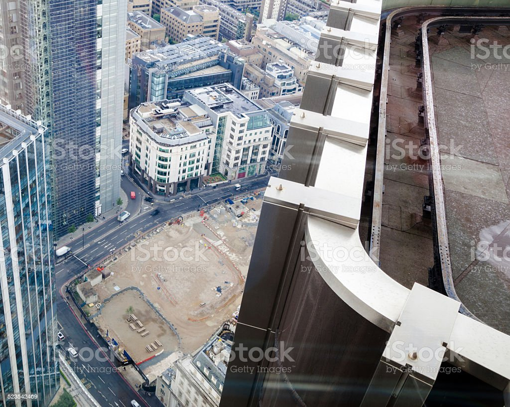 aerial view of redevelopment of Bishopsgate junction with London Wall stock photo