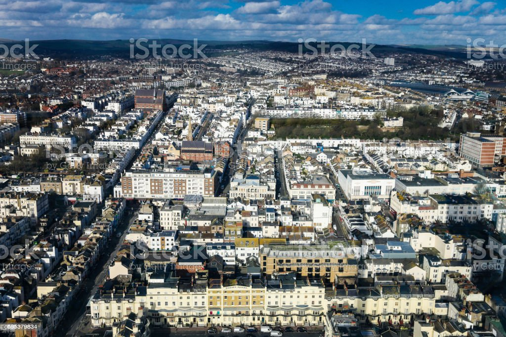 Aerial view of Regency and Victorian style architecture of Brighton, UK stock photo