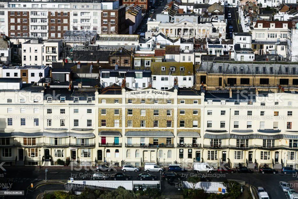 Aerial view of Regency Square and architecture of Brighton, UK stock photo