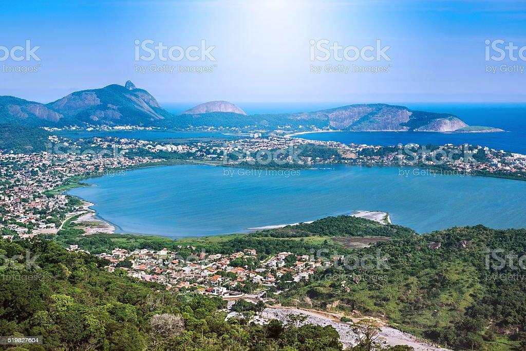 Aerial View of Regiao Oceanica, Niteroi, Rio de Janeiro, Brazil stock photo