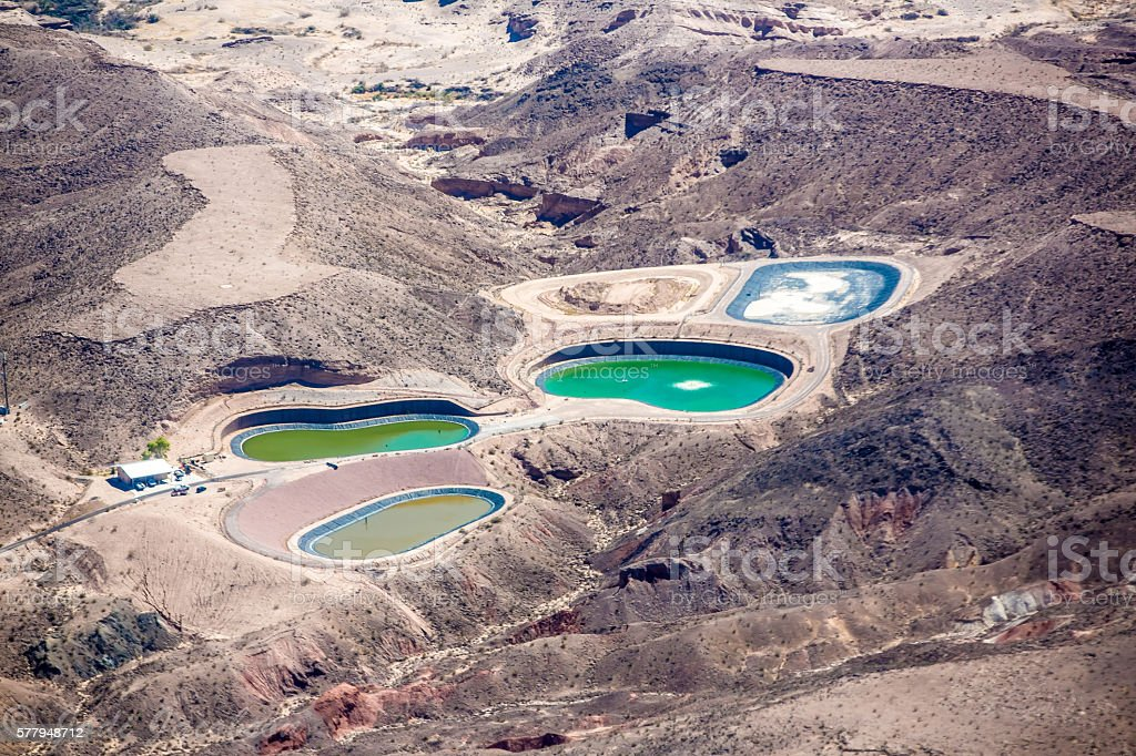 Aerial view of resevoirs in the desert near Las Vegas stock photo