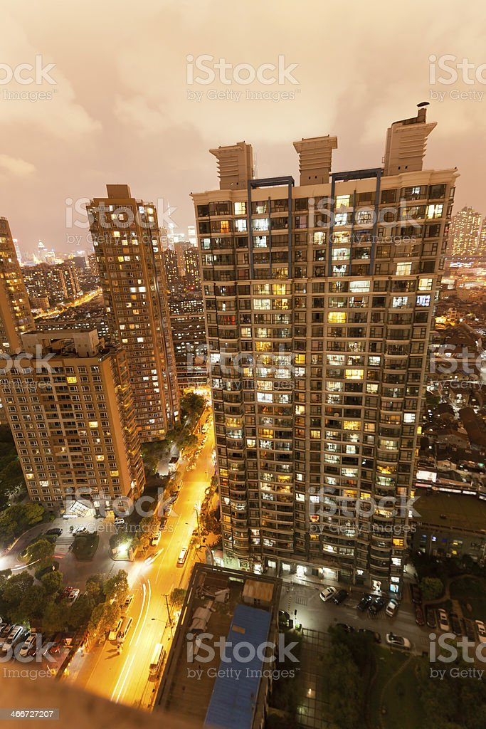 Aerial view of residencial building shanghai at night stock photo