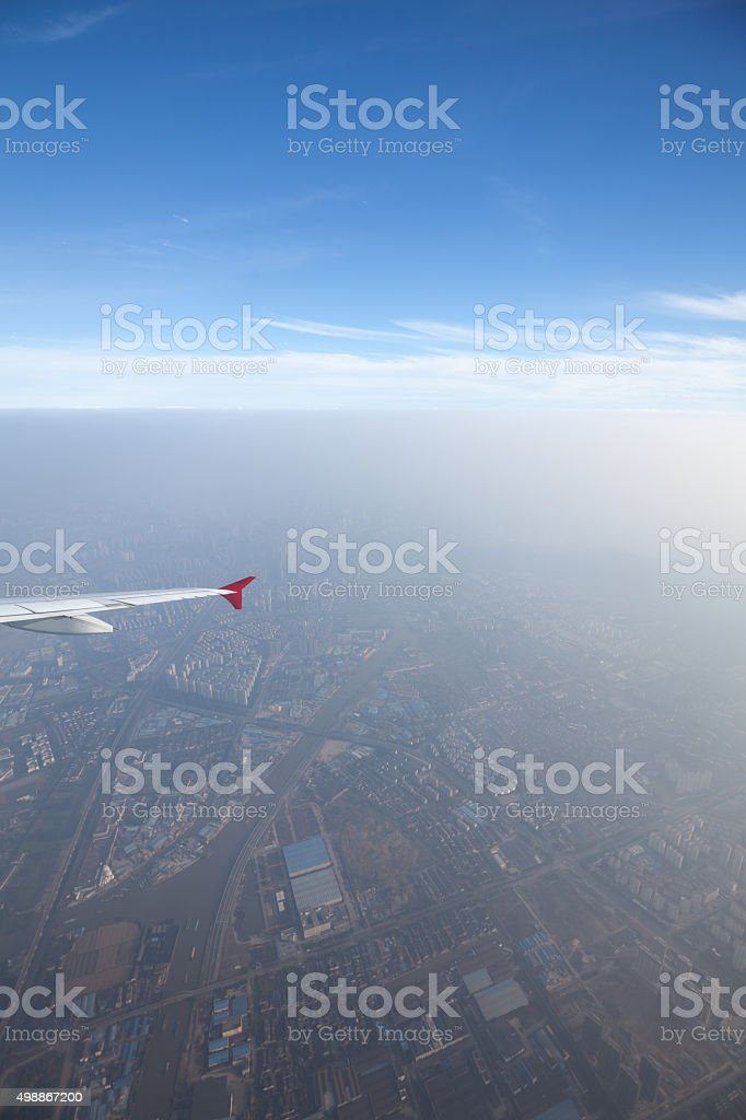 Aerial  View of Residential area in dusthaze stock photo